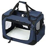 SONGMICS Hundebox Transportbox Auto Hundetransportbox faltbar Katzenbox Oxford Gewebe dunkelblau M 60 x 40 x 40 cm PDC60Z
